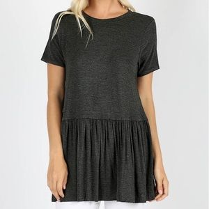 NWT**BOUTIQUE**CHARCOAL RUFFLE BOTTOM TOP